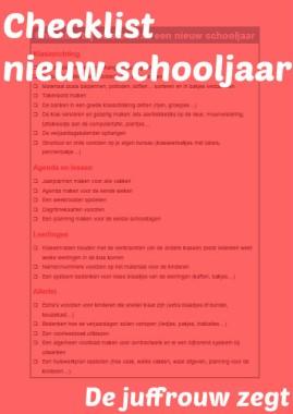 Checklist nieuw schooljaar