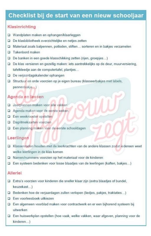 Checklist voor nieuw schooljaar